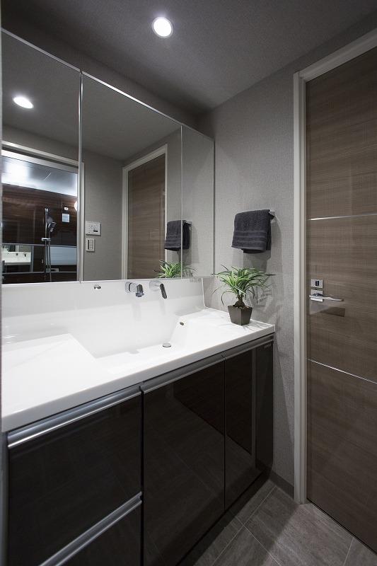 開放感のある洗面室、洗濯機置き場あります。